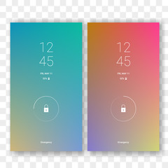 Mobile screen lock display with abstract gradient wallpaper background. Vector smartphone screenlock template or lockscreen passcode access authentication with gradient theme