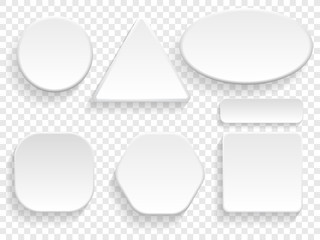 Buttons 3D white isolated set of round, square and triangular or rectangular shape on transparent background. Vector blank empty buttons templates for application interface or badge models