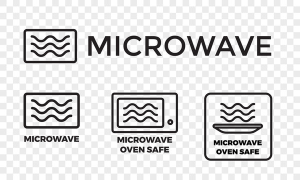 Microwave oven safe icon templates set. Vector isolated line symbols or labels for plastic dish food cookware suitable for safe warming and cooking in microwave oven isolated on white background