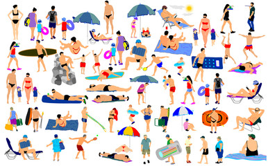 Sunny day on the beach vector illustration over 50 people characters(boy,girl,man,woman,swimmer,parents, tourists, mother,father,) Water sport. Happy seniors active life. Skin care protection concept.