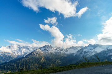 Panorama of Snow Mountain Range Landscape with Blue Sky at Matterhorn Peak Alps