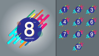 Set of anniversary logotype. Anniversary celebration with colorful abstract background design for booklet, leaflet, magazine, brochure poster, web, invitation or greeting card.