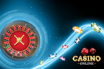 Casino banner with roulette and poker chips on blue neon background