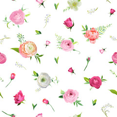 Summer Floral Seamless Pattern with Pink Roses and Lily Valley. Botanical Background with Flowers for Fabric Textile, Wallpaper, Wrapping Paper and Decor. Vector illustration