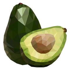 Delicious avocado polygonal geometric vector illustration, isolated on white background.