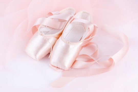 Closeup of new ballet shoes and tutu