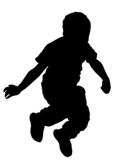 Happy joyful kid, little boy jumping high, vector silhouette illustration isolated on white background.