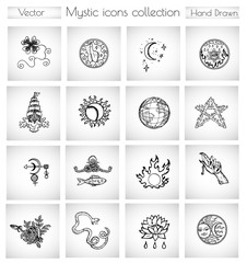 Vector doodle collection with spiritual, religious and esoteric icons and symbols for cards, banners, badge, logo, web design. Hand drawn graphic illustrations in vintage sketchy style