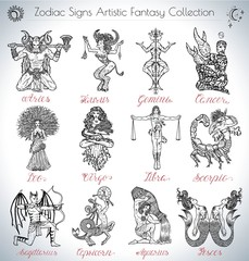 Hand drawn vector collection with fantasy Zodiac signs icons. Set with graphic illustrations isolated on white. Mystic horoscope symbols