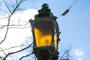 Lanterns lamp, blue sky, Munich