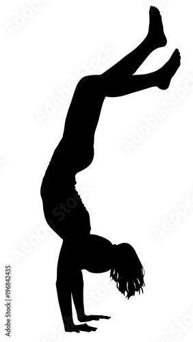sporty beautiful young woman working out indoors doing handstand rh us fotolia com