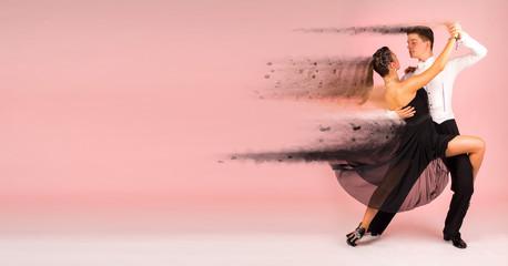 Tango dancing school couple background