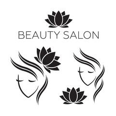 Beautiful woman logo template for hair salon, beauty salon, cosmetic