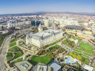the Palace of Culture and Palas park in Iasi city, Romania. aerial view