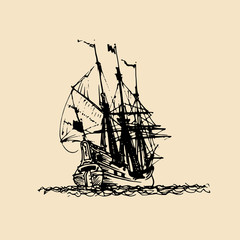Sailing ship illustration in engraved style. Hand sketch of old fluyt. Marine theme design