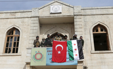 Turkish forces and Free Syrian Army are seen deployed in Afrin