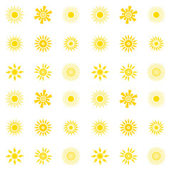 Seamless pattern with sun. Yellow sun of various shapes on white background. Vector illustration. For design.