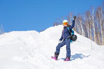 Image of female athlete in helmet during winter