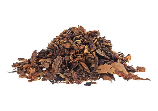 Heap of dry tobacco on a white background