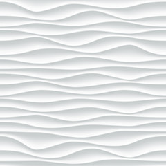 White wave pattern background with seamless wave wall texture. Vector trendy ripple wallpaper interior decoration. Seamless 3d geometry design