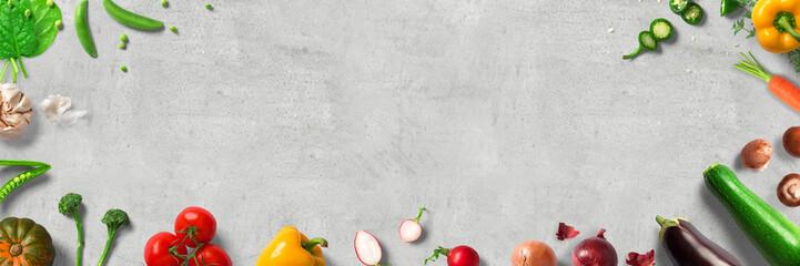 Auswahl an frischem Gemüse - Essen, Kochen - Banner | Hintergrund