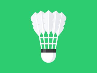 Badminton shuttlecock isolated on green background. Flat design. Vector illustration