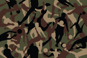 vector background of seamless soldier woodland green soccer camo pattern