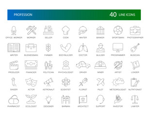 Line icons set. Proffesion pack. Vector Illustration