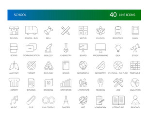 Line icons set. School pack. Vector Illustration