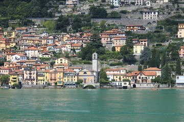 Blick auf Carate Urio, Stadt Panorama, Uferpromenade am Comer See in Italien