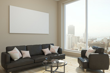 Bright living room with empty banner