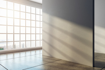 Bright interior with empty wall