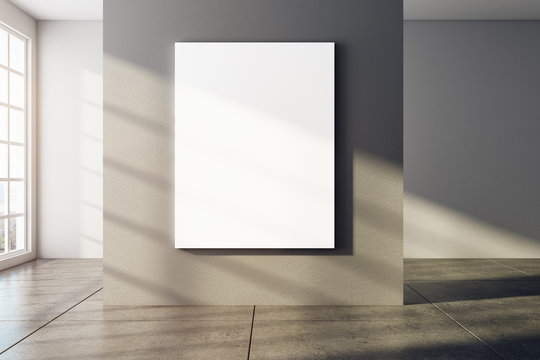 Modern interior with empty poster