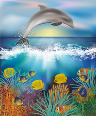 Underwater wallpaper with Dolphin and Tropical fish, vector illustration