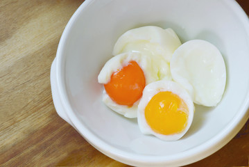 boiled eggs without  shell in bowl