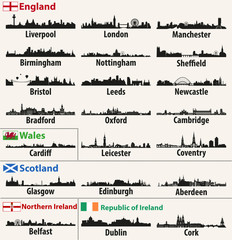 vector city skylines of British Isles countries (England, Scotland, Wales, Northern Ireland and Republic of Ireland)