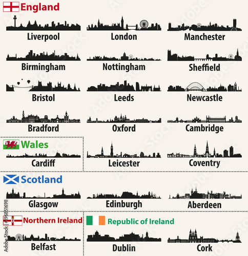 Fototapete vector city skylines of British Isles countries (England, Scotland, Wales, Northern Ireland and Republic of Ireland)
