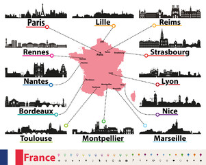Fototapete - France map with largest cities skylines silhouettes vector set