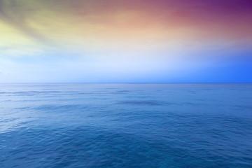 Amazing sunset over blue ocean