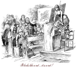 Vintage caricatures and fun: it looks like a rat...it is a rat ! Young terrified teacher gets up on the chair while the classroom girls watch the rat with great interest