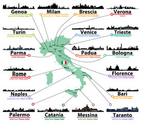 Fototapete - Italy map with largest italian cities skylines silhouettes vector set
