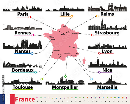 Fototapete France map with largest cities skylines silhouettes vector set