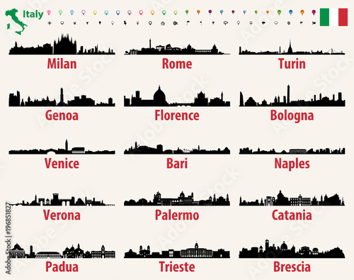 Fototapete Italy vector cities skylines silhouettes