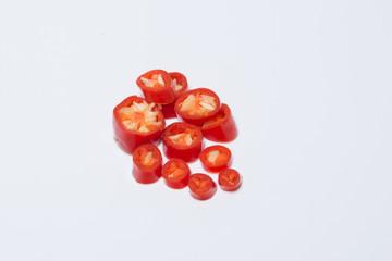 Chili, sliced white background