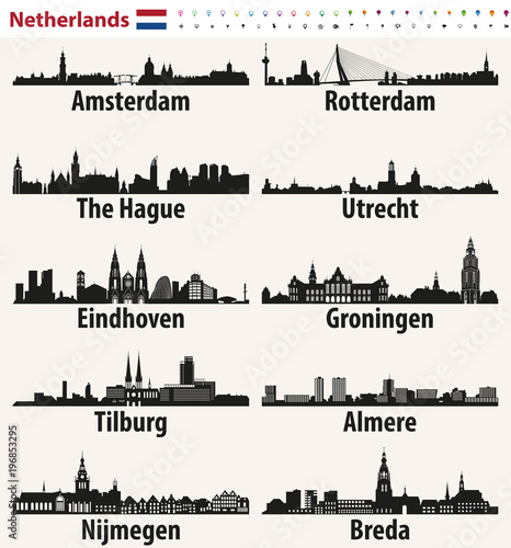 Fototapete Netherlands largest cities skylines silhouettes