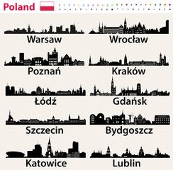 Fototapete - Poland largest city skylines silhouettes