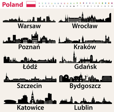 Poland largest city skylines silhouettes