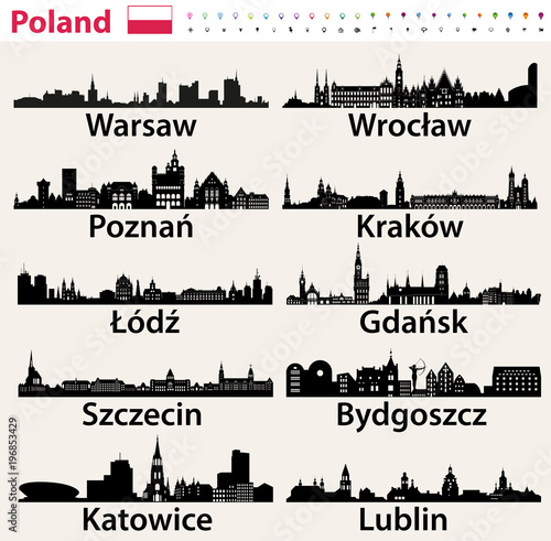Fototapete Poland largest city skylines silhouettes
