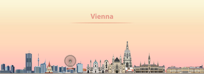 Fototapete - Vienna vector city skyline at sunrise