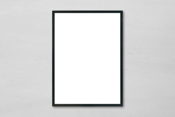 Mock up blank poster picture frame hanging on white marble wall background in room - can be used mockup for montage products display and design key visual layout.